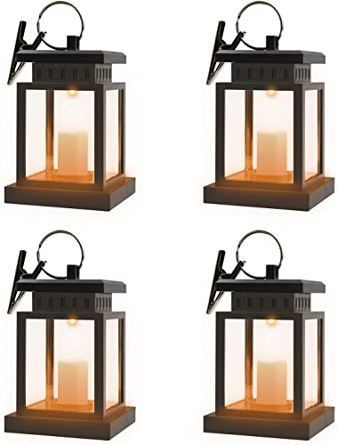 Beinhome Decorative Candle Lanterns Solar Powered Umbrella Lanterns Hanging Waterproof Garden Yard Patio Lights Post Deck Tree Floor Lamps Decoration Lights 4 Packs