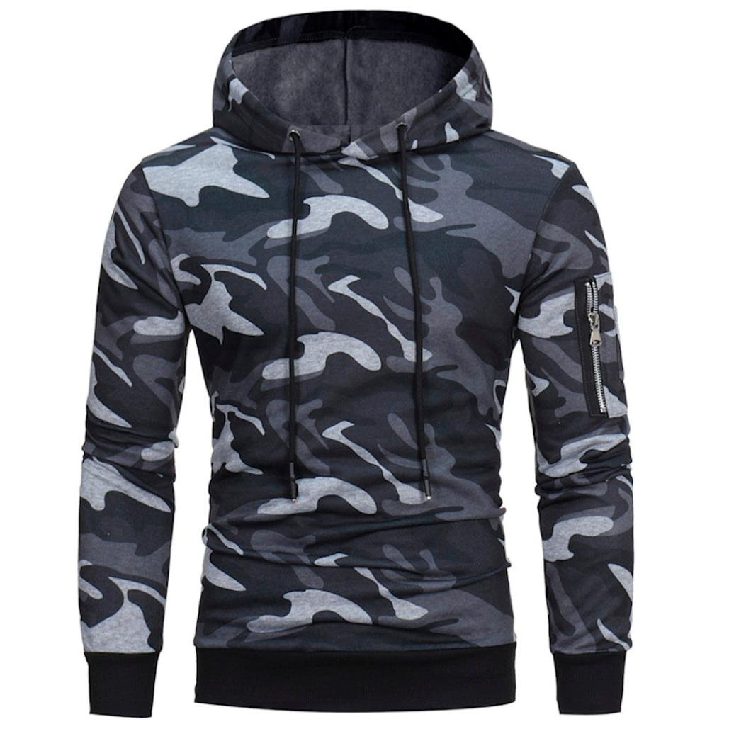 Usstore Men's Top Print Camouflage Pullover T-Shirt Long Sport Outwear Blouse
