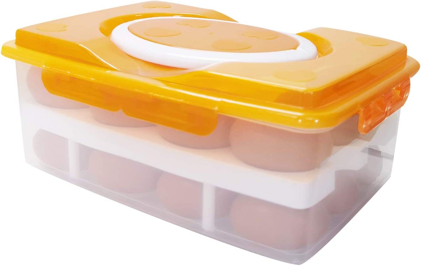 Boseen Egg Holder for Refrigerator, Double-Layer Deviled Egg Tray Carrier with Lid Portable Plastic Egg Container with Handles for Fridge Kitchen Egg Storage, 24 Eggs Tray Orange