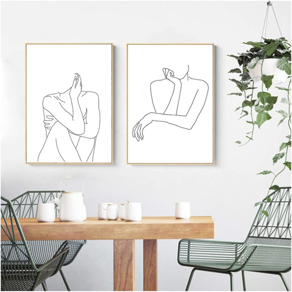 Abstract Lady Line Drawing Picture Home Decor Nordic Canvas Painting Wall Art
