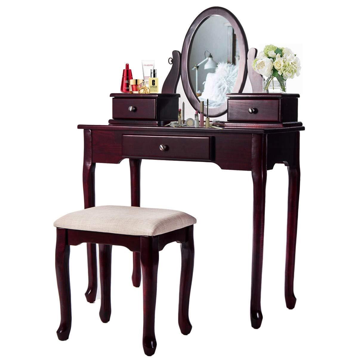 Brandless Traditionell Flip Top Spiegel Makeup Schminktisch und Cushioned Hocker 2 PC Moderne Mirrored Make Up Schreibtisch mit Sitzbank und herausnehmbaren Schubladen, Diverse Elemente