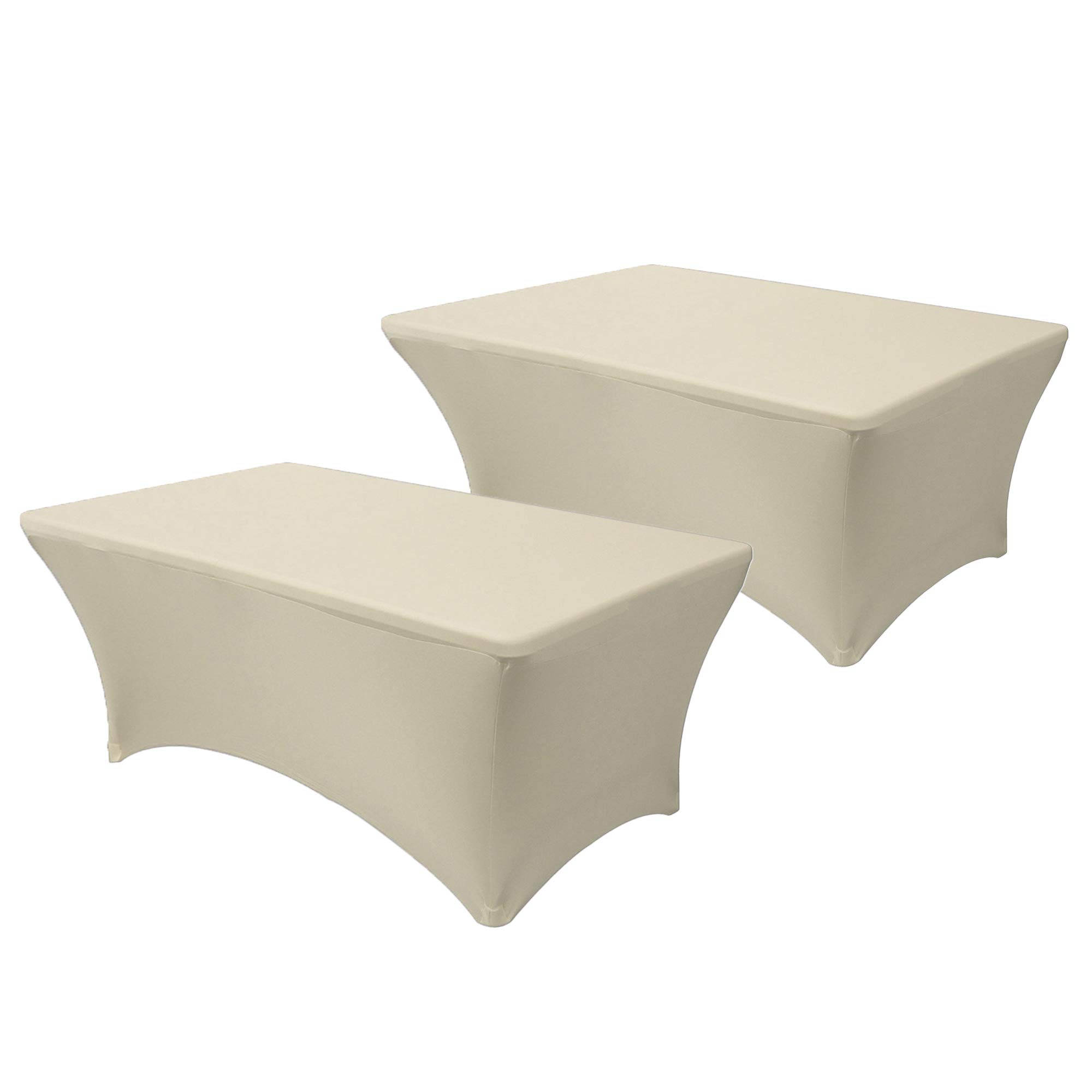 Your Chair Covers - Pack of 2 Stretch Spandex Table Cover for 6 Ft Rectangular Tables, 72'' Length x 30'' Width x 30'' Height Fitted Tablecloth for Standard Folding Tables - Ivory