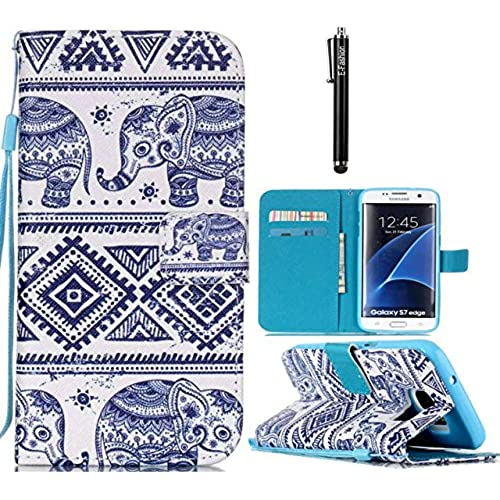 Samsung Galaxy S7 edge Case, E-fashion [Wallet Case] PU Leather Flip Case Cover [Card Slot][Magnetic Closure] For Samsung Galaxy S7 edge (Elephant) Sales