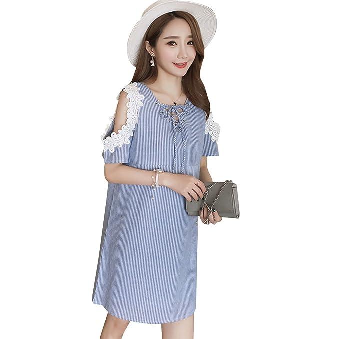 KINDOYO Vestido Lactancia de Mujer Embarazo - Moda Elegante Encaje Premamá Blusa Maternidad Camiseta Vestidos Verano