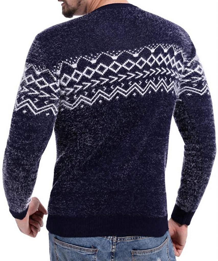 MK988 Men Long Sleeve Hollow Out Warm Round Neck Color Block Winter Pullover Sweaters
