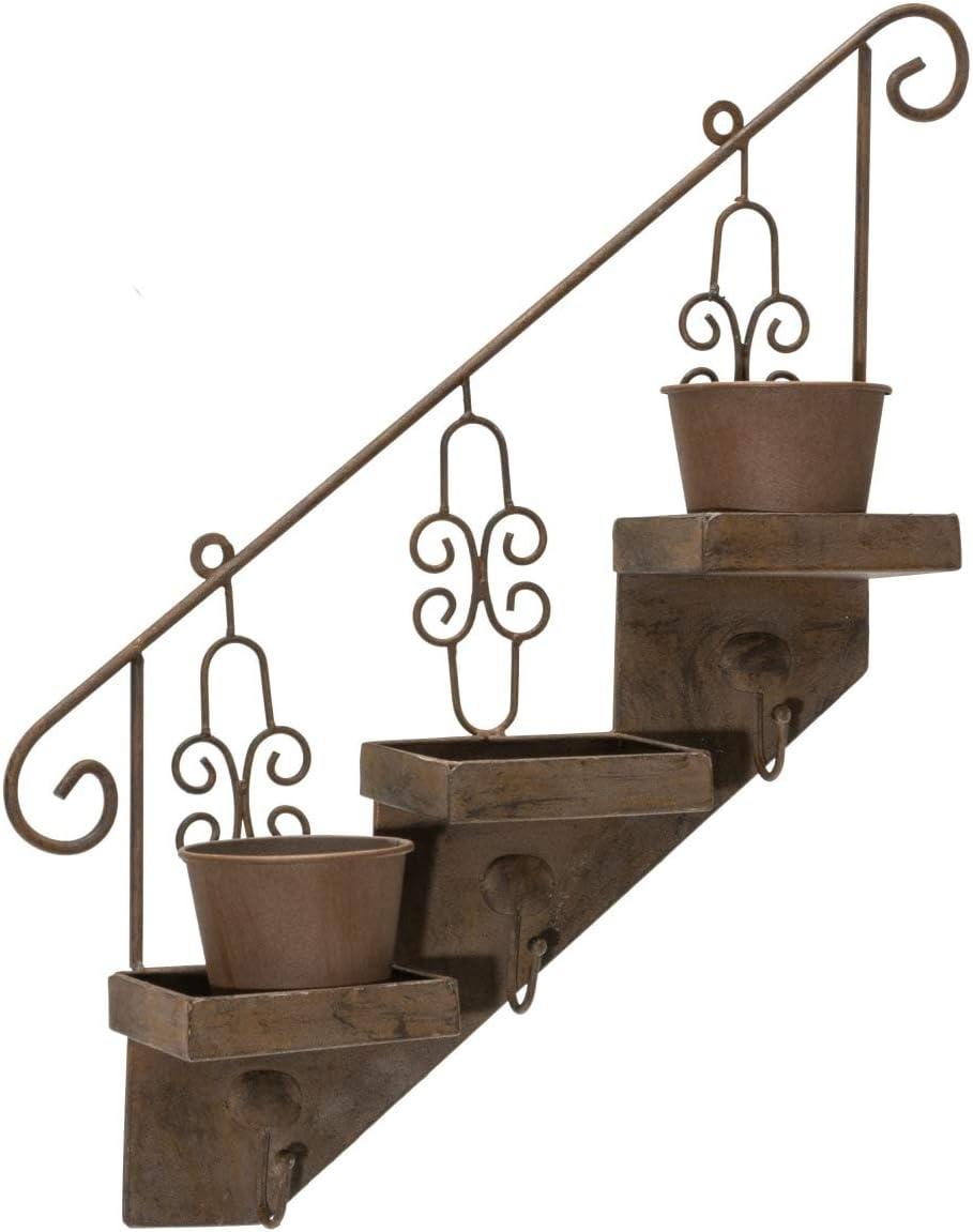 Bastidor soporte para macetas escalera incluye 3 maceteros metal vintage marrón: Amazon.es: Jardín