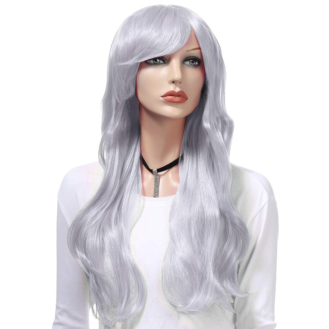 Wigood 28 Inch Black Wig Long Curly Hair with Air Bangs Free Wig Cap Cosplay Halloween Wigs for Black Women