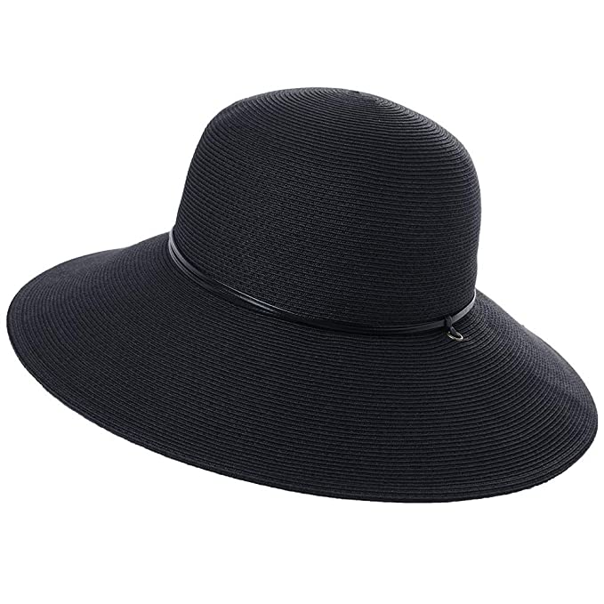 01e206791e0e5 Wide Brim Braided Sun Hat Chin Strap UPF 50+ Protection Womens Panama  Fedora Outdoor Beach Hiking Packable Black