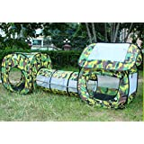 Outdoor Indoor Play House Tent Tunnel,LifeVC® Child Playhouse,Play Tent Set for Toddlers Child Kids(Color:Camouflage) - Perfect Christmas Gift For Child