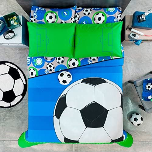 Hot JORGE'S HOME FASHION NEW PRETTY COLLECTION SOCCER TEENS BOYS REVERSIBLE COMFORTER SET AND SHEET SET 6 PCS TWIN SIZE for sale