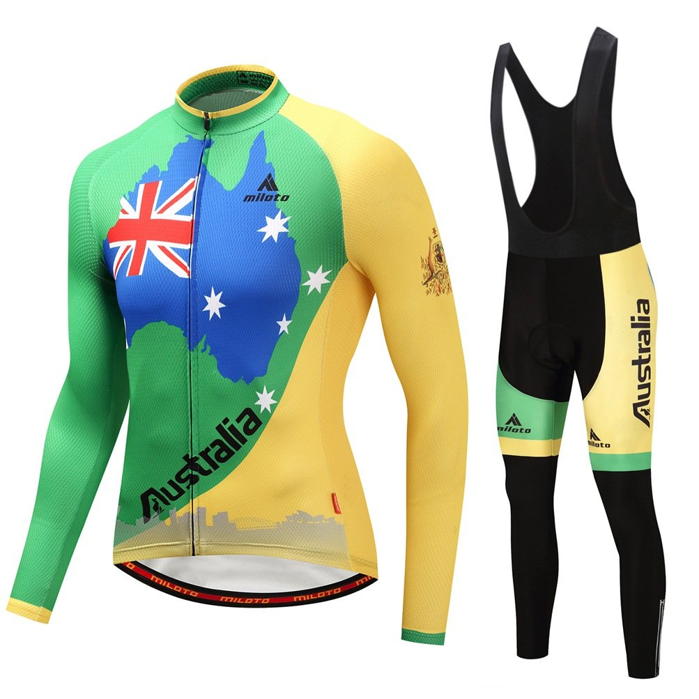 Uriah Men 's Cycling Jersey Bibパンツブラックセット長袖反射 B076L99PGZ Chest 36.2''=Tag S|Australia Flag Australia Flag Chest 36.2''=Tag S