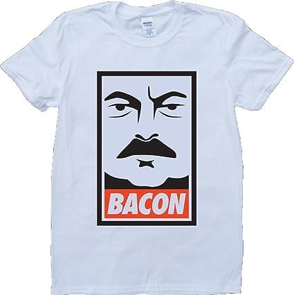 Ron Swanson Tocino Blanco por Encargo T-Shirt: Amazon.es ...