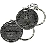 Mustard Seed Coin Key Chain Faith Pewter