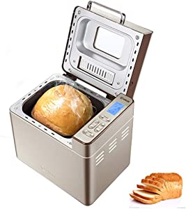 VBARV Full-Automatic Stainless Steel Bread Maker, 2LB Bread Maker with Automatic nut Dispenser, 25 Multi-Function Programs, Unique Ceramic Pot, 3 Bread Sizes, 3 Colors