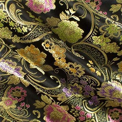 amazon com black multi floral brocade fabric by the yard