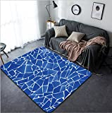 Vanfan Design Home Decorative 86693875 blue trencadis broken tiles mosaic from Mediterranean in Valencia Spain Modern Non-Slip Doormats Carpet for Living Dining Room Bedroom Hallway Office Easy Clean