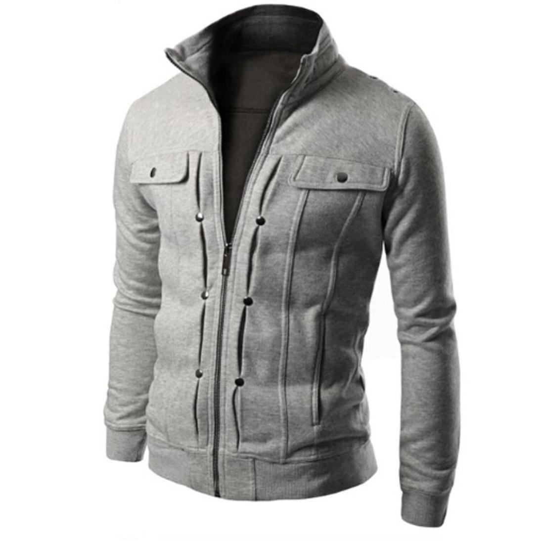 LNGRY Fashion Mens Slim Designed Lapel Cardigan Zipper Coat Winter Warm Jacket