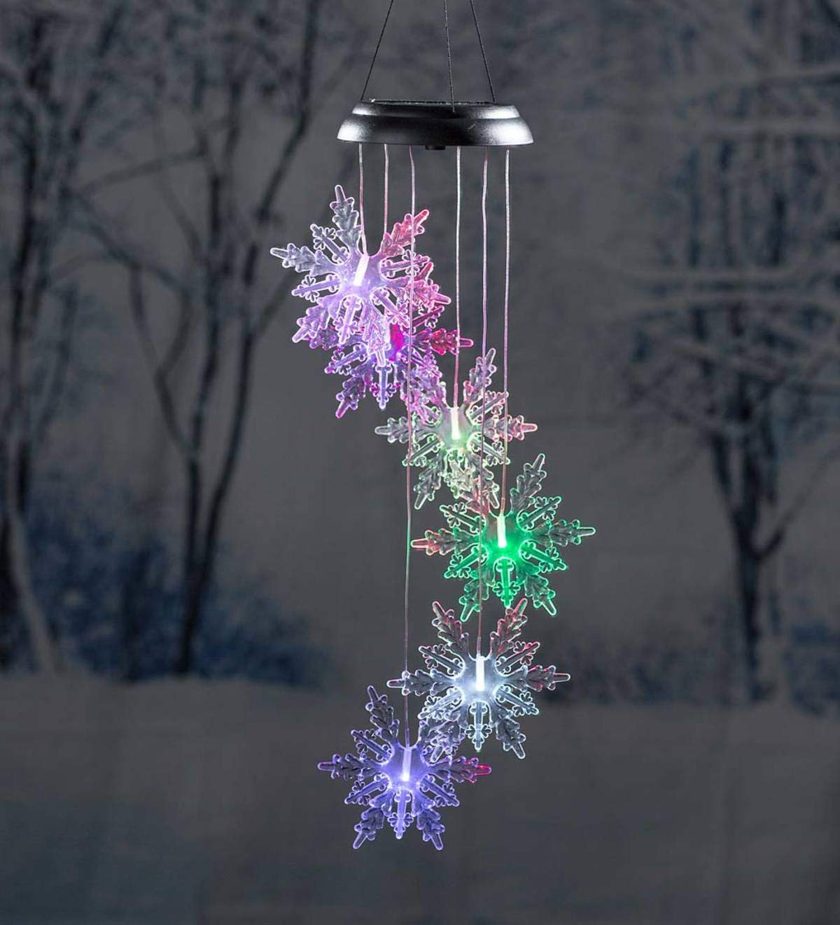 Holiday Color-Changing Solar Mobile with Laser Show - Snowflake by Plow & Hearth