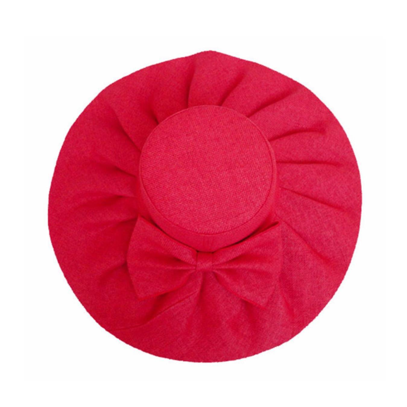 Women Linen Floppy Ruffle Hat with Big Bowknot Wide Large Brim Sun Hats Wedding Church Cap
