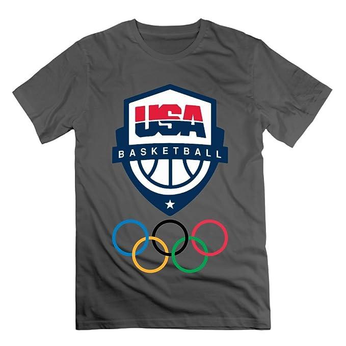 c52a25ad2dae4 MAT Q VO Men's Rio 2016 Olympics USA Basketball Team Logo T Shirts/Tee White