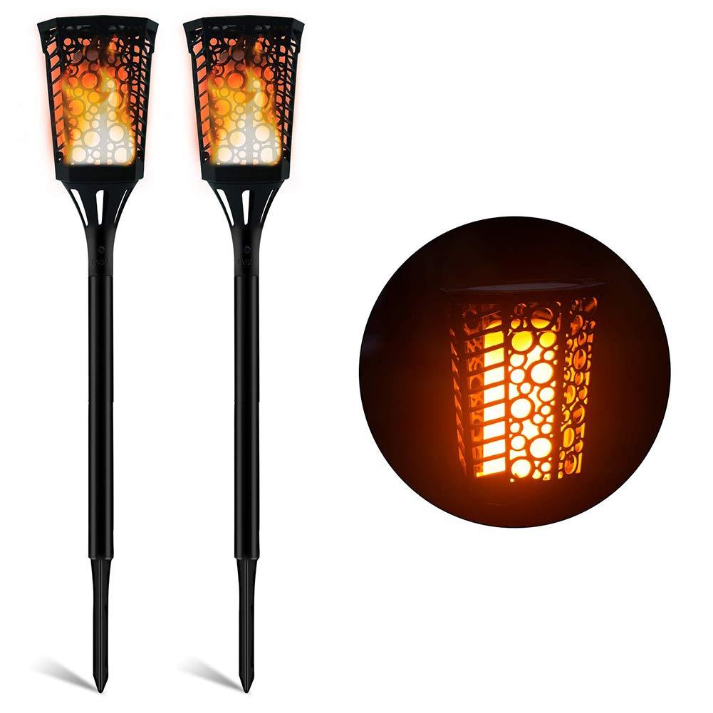 SEniutarm Solar Powered Lawn Flame Torch Lamp 2Pcs Waterproof LED Light Garden Decor