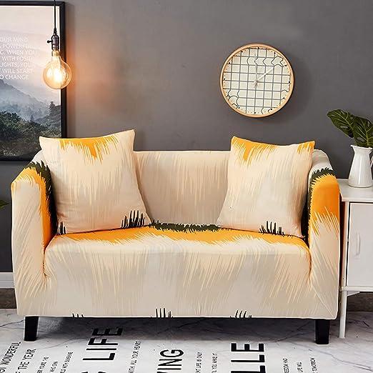 Liziyu Funda de sofá Estampada en Tela para 1 2 3 4 plazas, Couch Cover con una Funda de Almohada Gratis, Ajuste elástico de Spandex con Correa ...