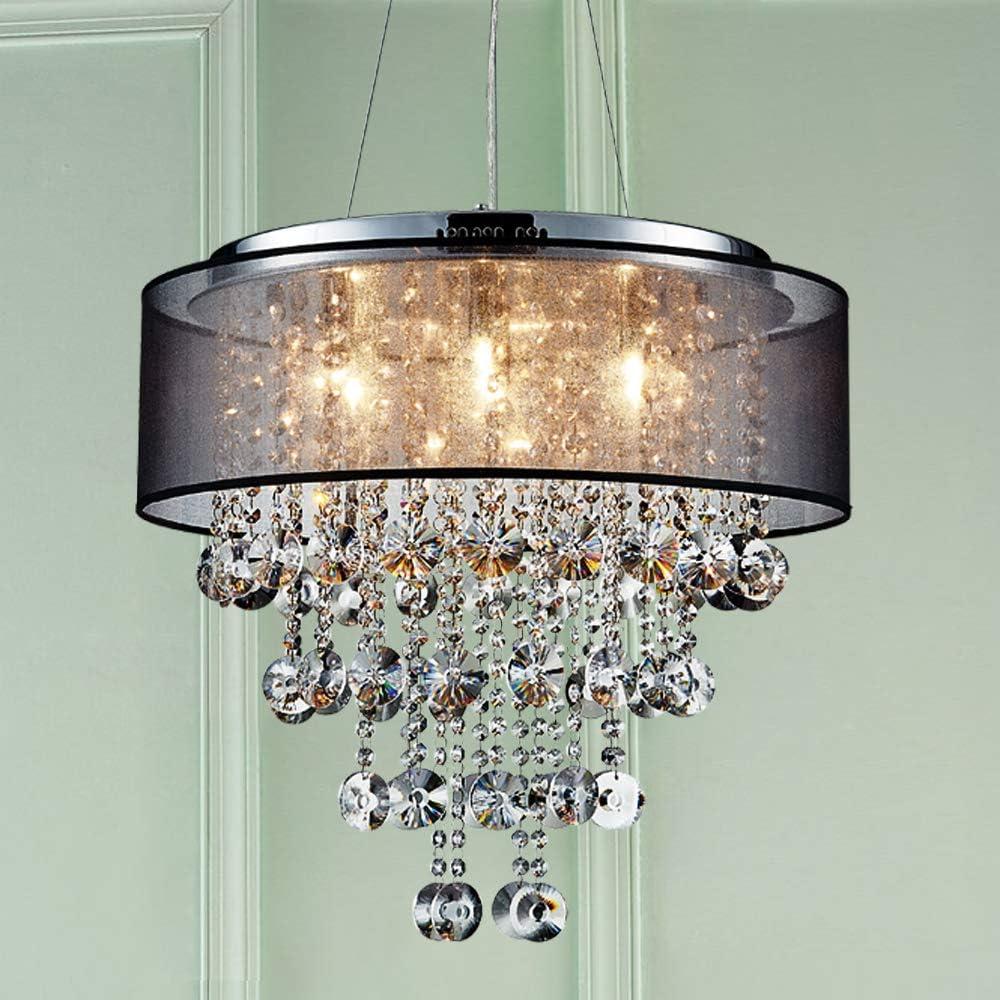 Saint Mossi Chrome Modern K9 Crystal Chandelier Lighting LED Ceiling Light Fixture Pendant Lamp for Dining Room Bathroom Bedroom Livingroom 7G9 Bulbs Required H19 W22