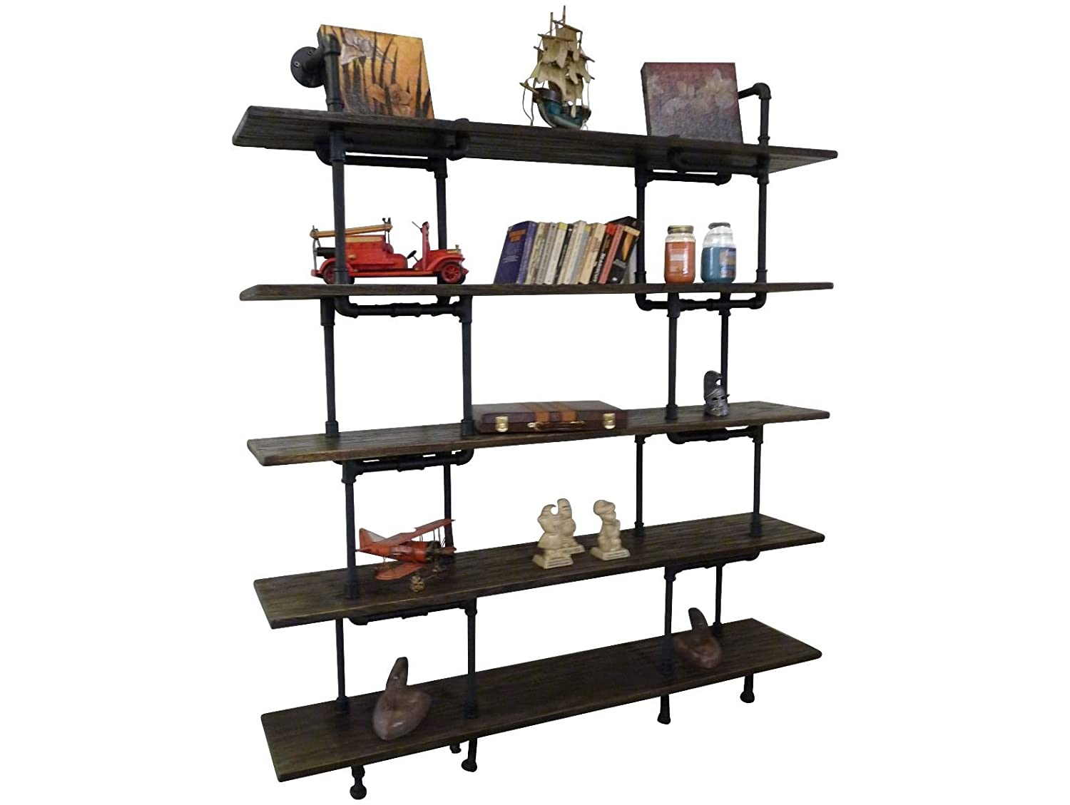 Amazon com eugene modern industrial 71 inch tall x 64 inch wide large storage 5 shelf pipe bookcase etagere metal and reclaimed aged finish with