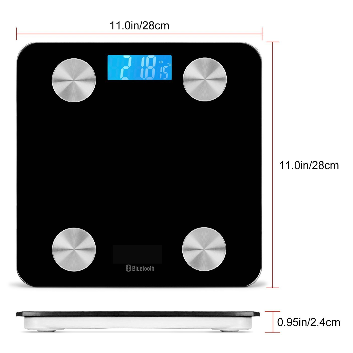 Bluetooth Smart Body Scale with IOS and Android App Wireless Digital Bathroom Scale for Body weight Water Calorie Bone Mass and Visceral Fat Body Fat Black color Muscle Mass Temptuare BMI