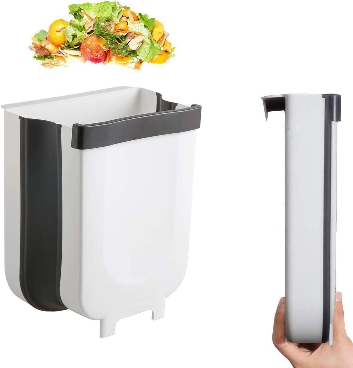 Kitchenmore Papelera para Colgar, Cubo de Basura Plegable para Puerta de Armario de Cocina, pequeña y compacta, Mini portátil para el hogar y el Aire Libre …