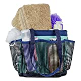 Fancii Quick Dry Shower Caddy Organizer with 7 Mesh Storage Pockets and Key Hook - Portable Water Resistant Bath & Toiletry Tote Bag for College Dorm, Travel, Gym and Camping