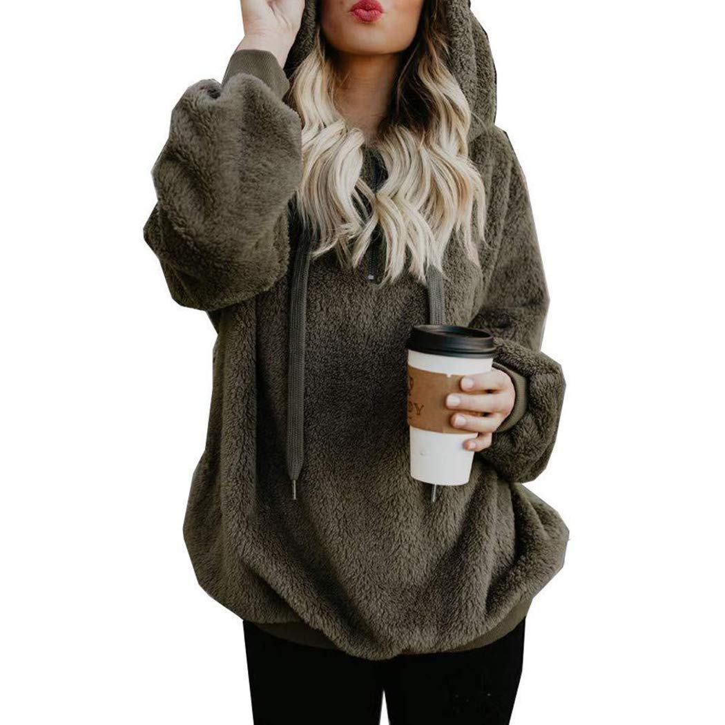 Raylans Womens Drawstring Solid Color Sherpa Pullover Sweatshirt Fuzzy Loose Hoodie