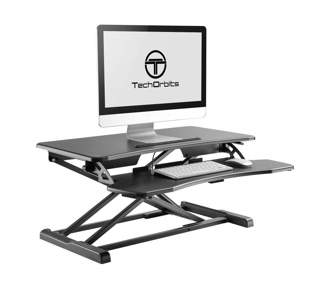 TechOrbits Rise-X Light Standing Desk - Stand Up Desk Height Adjustable Desk Dual Monitor Mount Compatible - Home & Office Desk Riser Workstation - 32'' Surface Black