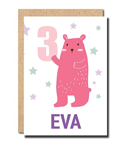 Personalised 3rd Birthday Card For Girl Daughter Granddaughter Niece