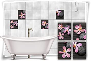 Medianlux Fliesenaufkleber Fliesenbild Blumen Orchidee Spa Wellness  Aufkleber Deko Bad Fliesen Badezimmer, 20x25cm