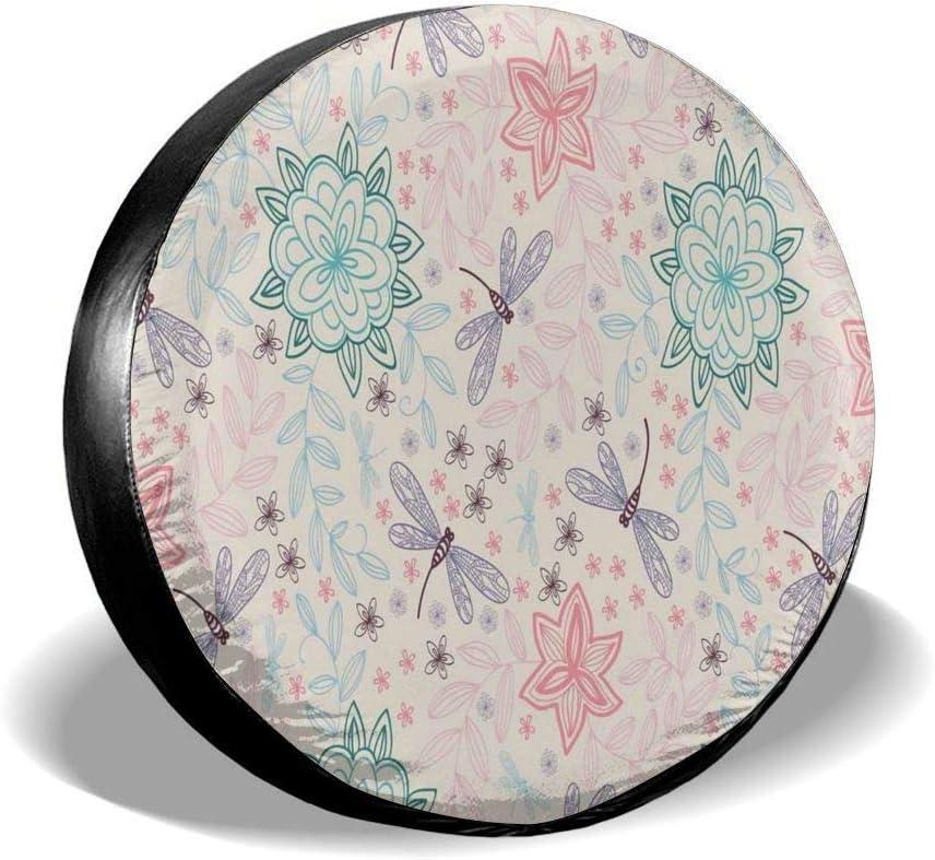 Cubierta del neumático Cubierta del neumático Cubiertas de las ruedas, imagen de fondo rosa con flores étnicas bohemias Hojas de pájaros voladores como insectos, para camión SUV de 15 pulgadas
