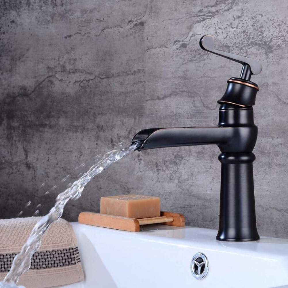 Short Black YHSGY Bathroom Sink Taps New Style Black Waterfall Sink Tap Bathroom Faucet Basin Sink Tap Orb Brass Black Waterfall Faucet Hot and Cold Mixer Tap
