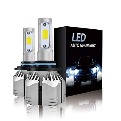 9006 LED Headlight Bulbs 6500k 12000LM Extremely Bright HB4 Car bulbs All- in -One Aluminum COB Chips Conversion Kit (2-PACK): Automotive