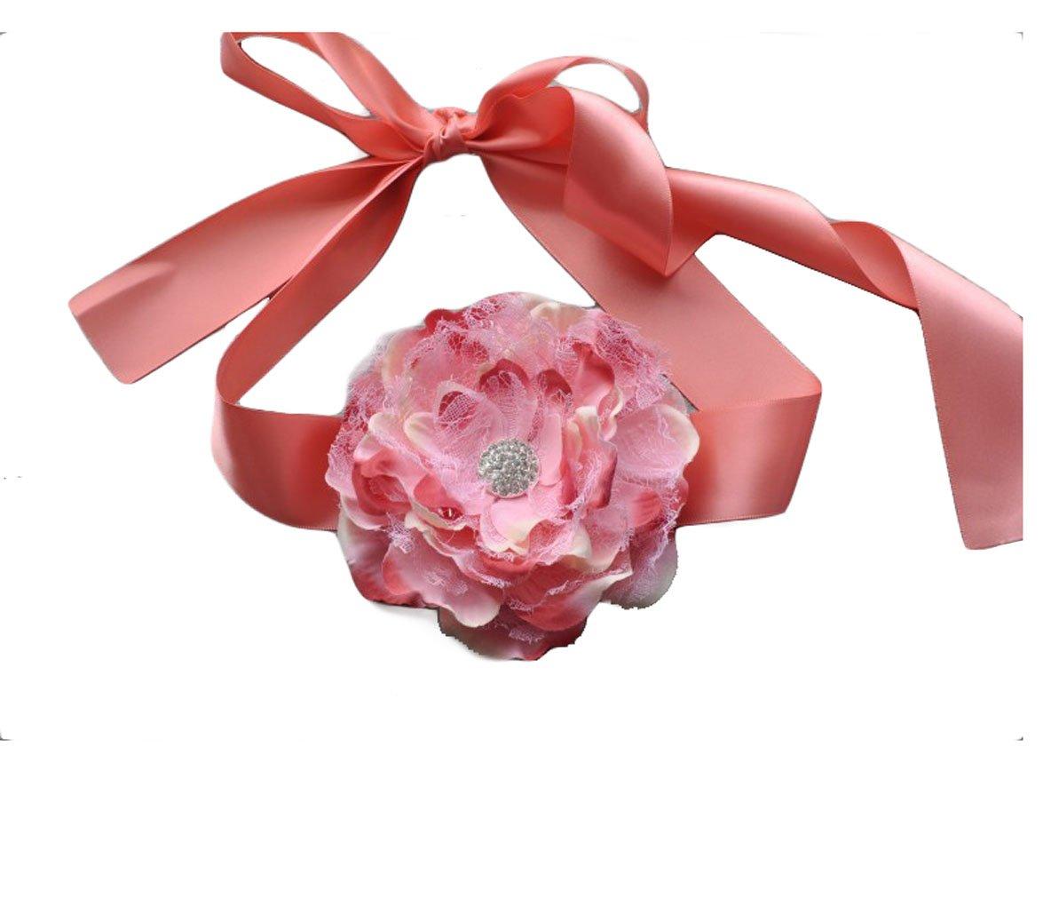 Flower Girls Sash Belt with Lace Big Peony Flower Wedding Girls Bridesmaid Sash JB20 (5-Peach Ivory)