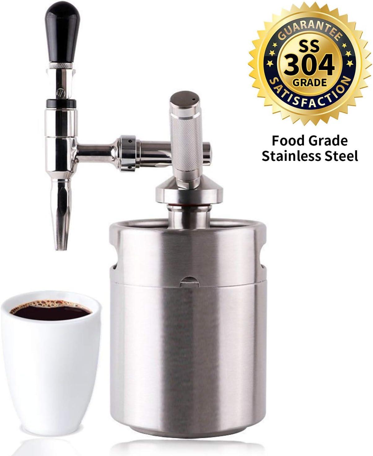 Coffee Maker Home Keg Kit System Nitro Cold Brew Coffee Maker 64 Oz Stainless Steel Homebrew Nitrogen Infuser 2 L Keg Personal Coffee Maker Machine Kit System (Silver)