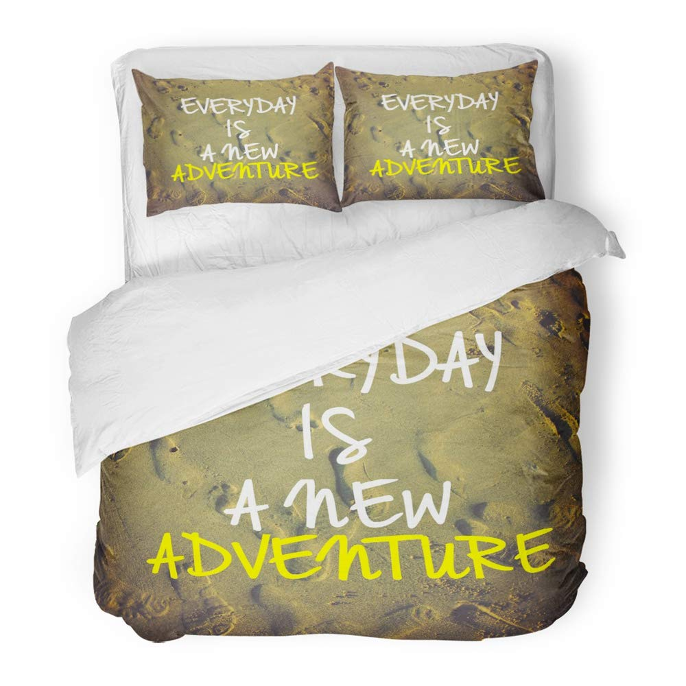 Emvency 3 Piece Duvet Cover Set Brushed Microfiber Fabric Breathable Inspirational Motivation Quote Everyday is New Adventure on Nature Sandy Beach Bedding Set with 2 Pillow Covers Full/Queen Size