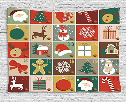 Christmas Tapestry by Ambesonne, Holiday Season Pattern with Santa Rudolf the Reindeer Gingerbread Man Candy Cane Snowflakes, Wall Hanging for Bedroom Living Room Dorm, 60 W X 40 L Inches, (Gingerbread Man Candy Cane)