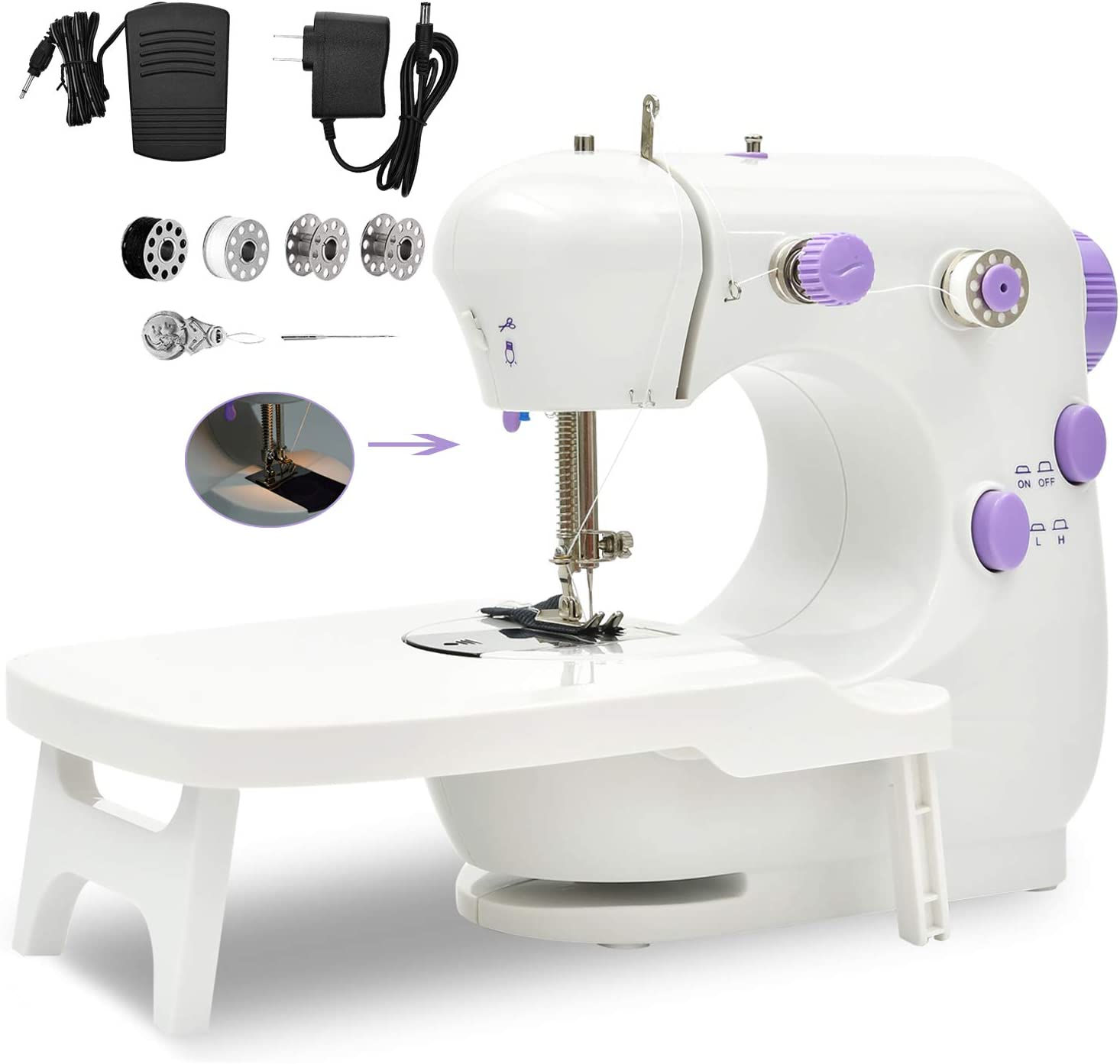 Sewing Machine, Portable Household Lightweight Mini Sewing Machine for Beginners, Adjustable Double Threads Machine Sewing with Extension Table, Sewing Kit for Household,Travel