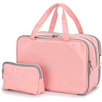 832c99b4296ccd Travel Makeup Bag Toiletry Bags Large Cosmetic Cases for Women Girls Water- resistant (pink