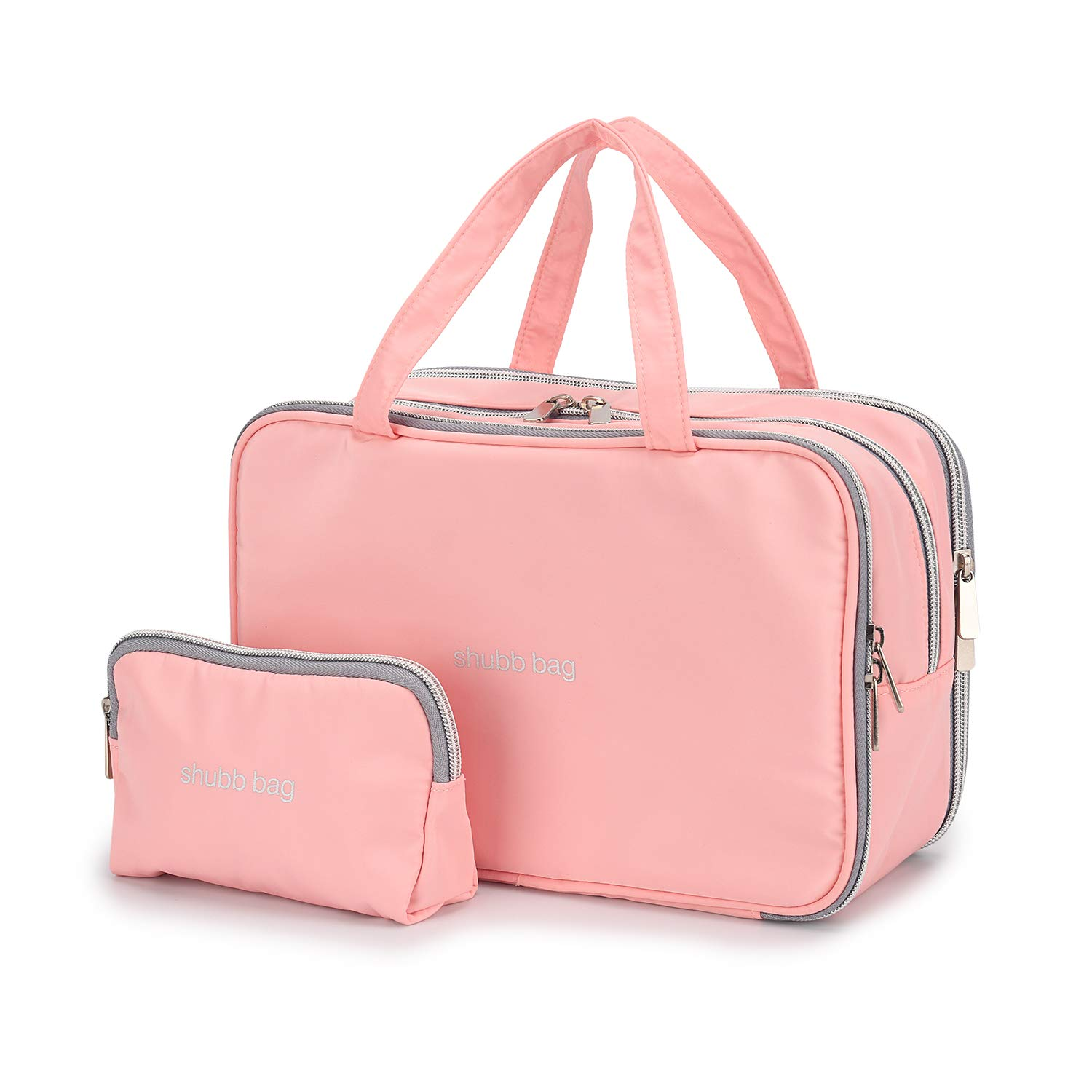 Travel Makeup Bag Toiletry Bags Large Cosmetic Cases for Women Girls Water-resistant (pink/makeup bag set)