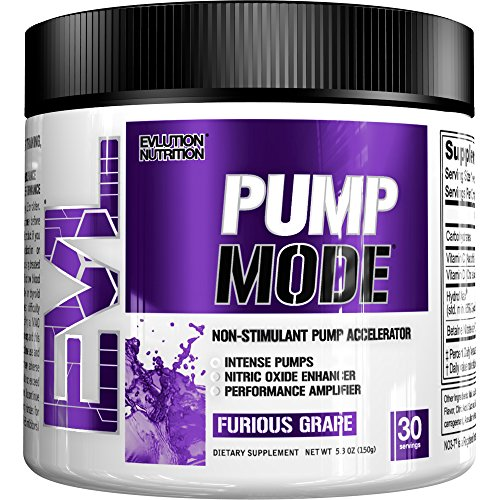 Evlution Nutrition Pump Mode Nitric Oxide Booster to Support Intense Pumps, Performance and Vascularity, 30 Serving, Furious Grape