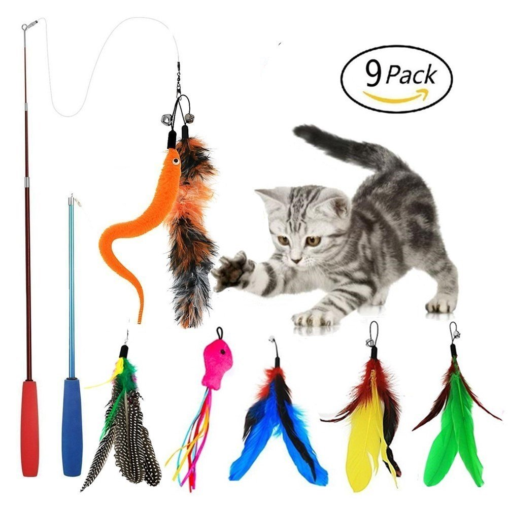 EatronChoi Cat Feather Toy Cat Toy Wand 9 pcs Retractable Interactive Cat Teaser Wand Toy Set Included 2 Wands & 7 Refills Feathers (2 Wand 7 Refills)