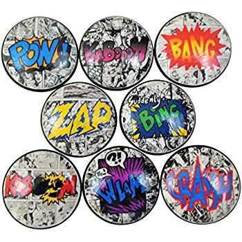 Set of 8 Comic Book Action Wood Cabinet Knobs