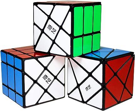 Gobus Pack de 3 Juegos de Cubos, Cubo de Rompecabezas de ángulo de fluctuación 3x3, Cubo