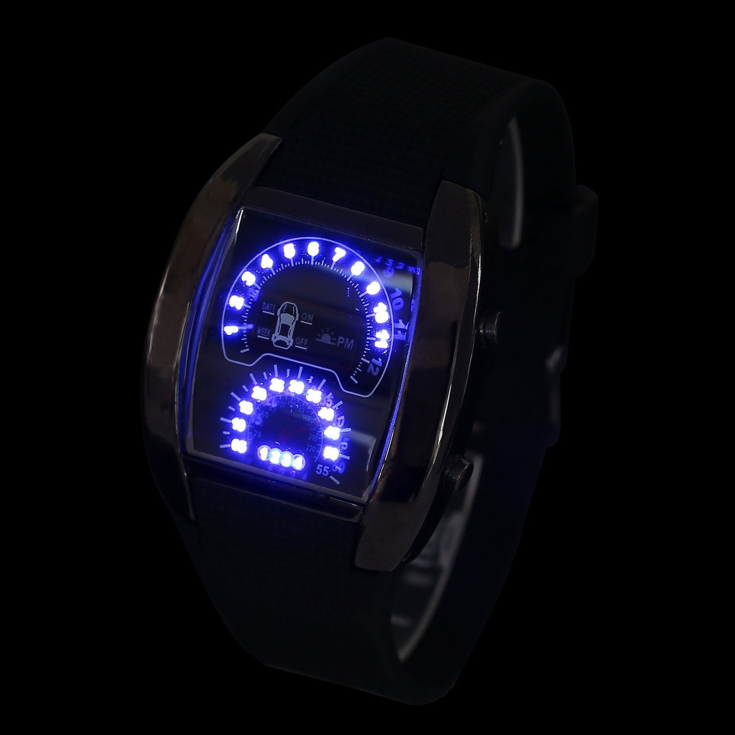 Moda y Único Azul Flash Led Reloj RPM Turbo Car Meter Dial Men Sport Relojes: Amazon.es: Relojes